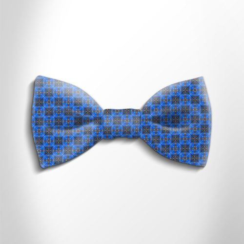 Blue and orange patterned silk bow tie