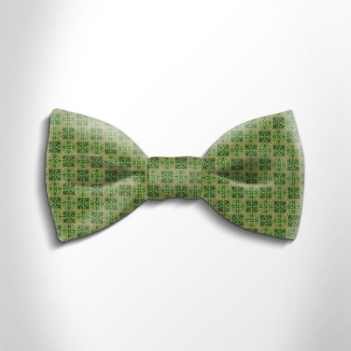 Green patterned silk bow tie