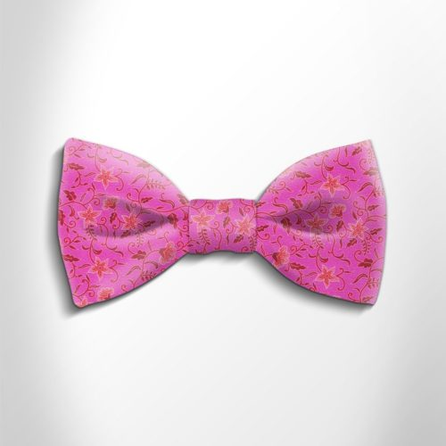 Fuchsia and pink floral patterned silk bow tie
