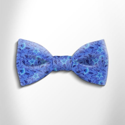 Blue and sky blue floral patterned silk bow tie
