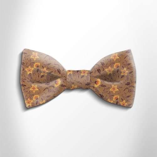 Violet and lilac floral patterned silk bow tie