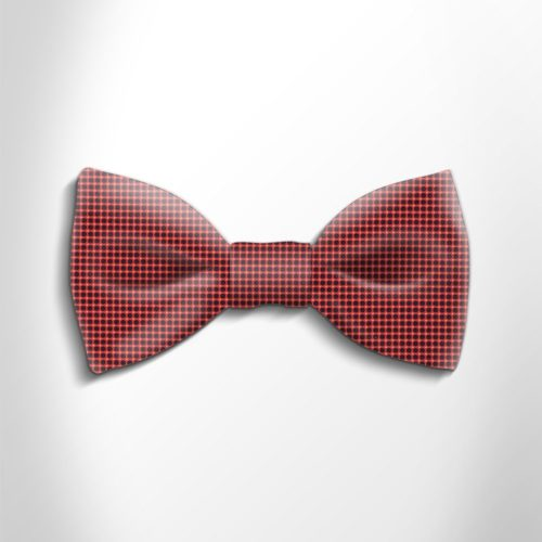 Red and vblack polka dot silk bow tie