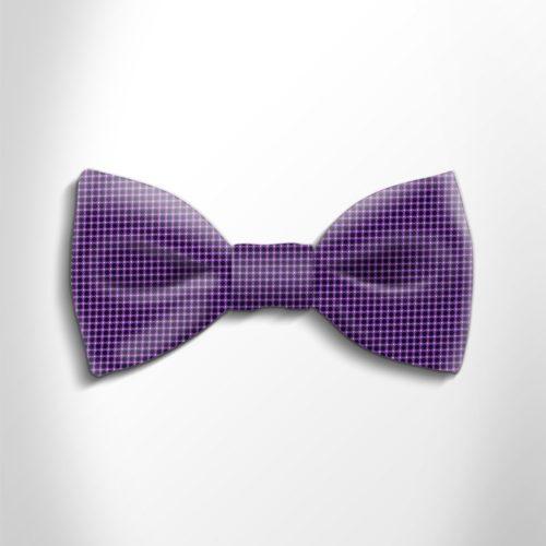 Violet and black polka dot silk bow tie
