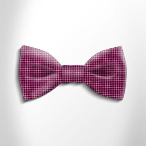 Fuchsia and black polka dot silk bow tie