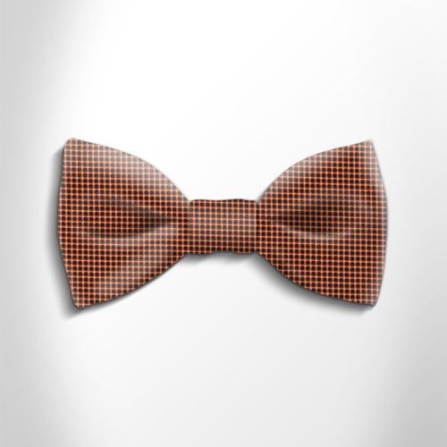 Orange and black polka dot silk bow tie