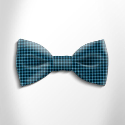 Green water and black polka dot silk bow tie