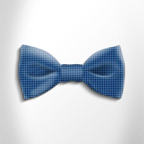 Blue and black polka dot silk bow tie
