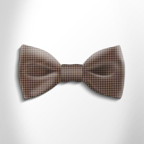 Brown and black polka dot silk bow tie