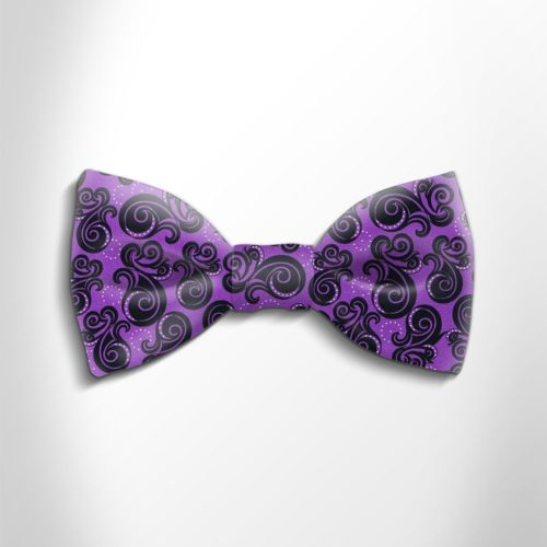 Violet and black patterned silk bow tie