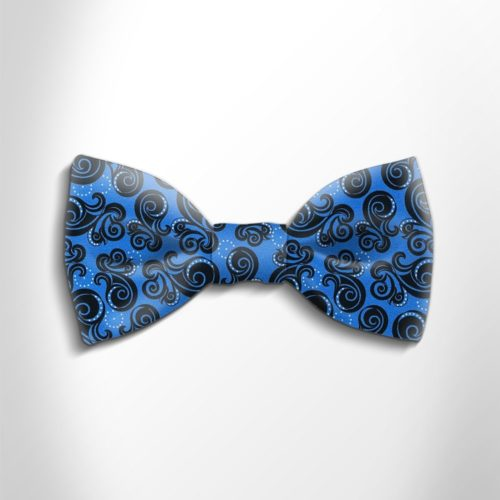 Blue and black patterned silk bow tie