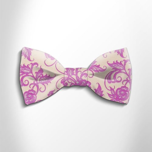 Lilac and beige floral patterned silk bow tie