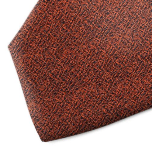 Orange and black patterned silk tie
