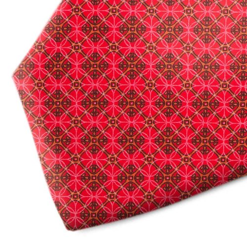 Red and orange patterned silk tie