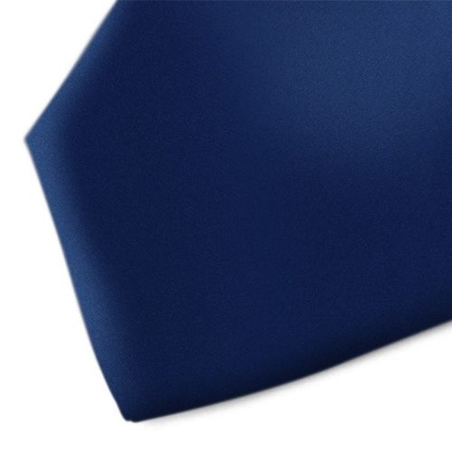 Solid dark blue handmade silk necktie