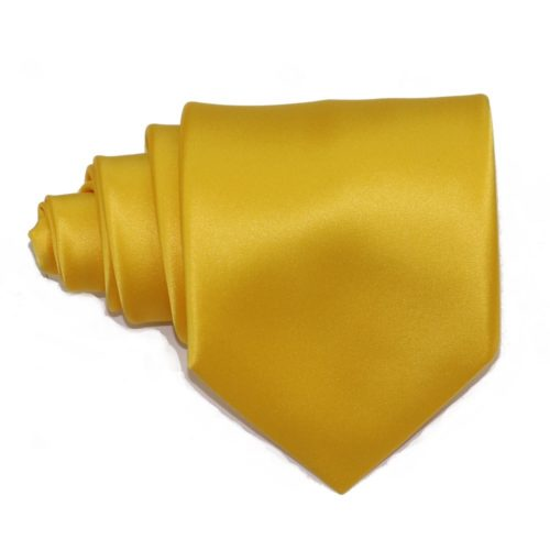 Tailored solid yellow silk tie 18004-3