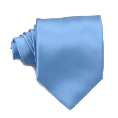 Tailored solid sky blue silk tie 18003-4