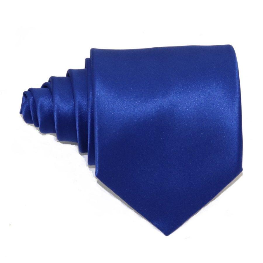 Tailored solid blue silk tie 18006-4