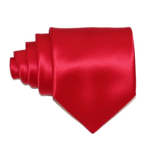 Tailored solid red silk tie 18005-13