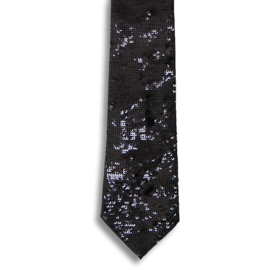 Black silk tie lined with silver paillettes
