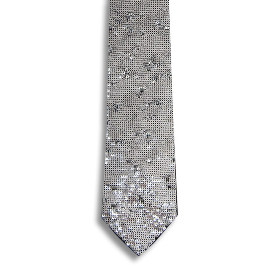 Black silk necktie lined with silver sequins