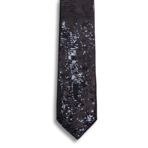 Black silk tie lined with bicolour black and red sequins