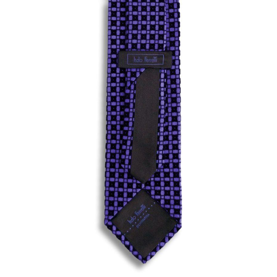 Violet silk tie with black velvet squares pattern
