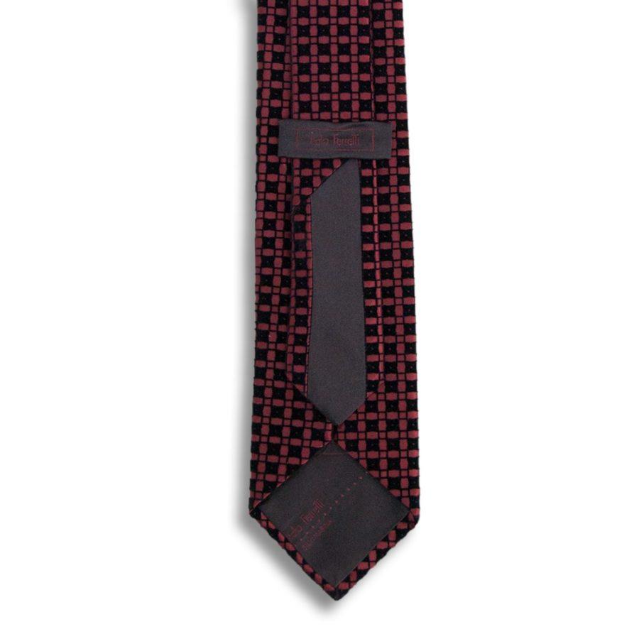 Bordeaux silk tie with black velvet squares pattern