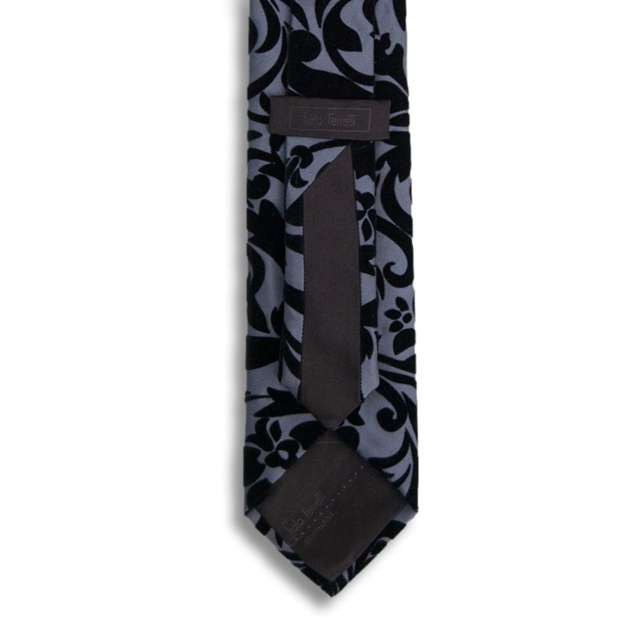 Gray silk tie with black velvet ramage