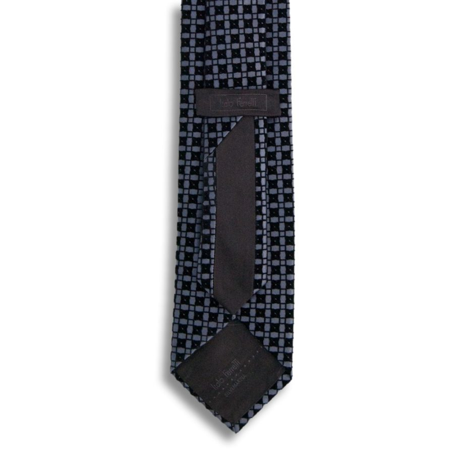 Gray silk tie with black velvet squares pattern