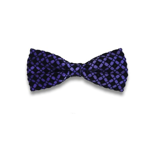 Violet bow tie with black velvet squares pattern