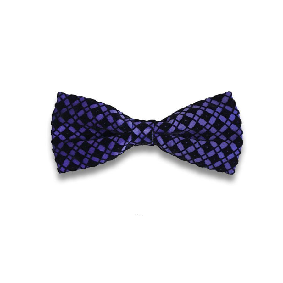 Violet bow tie with black velvet squares pattern