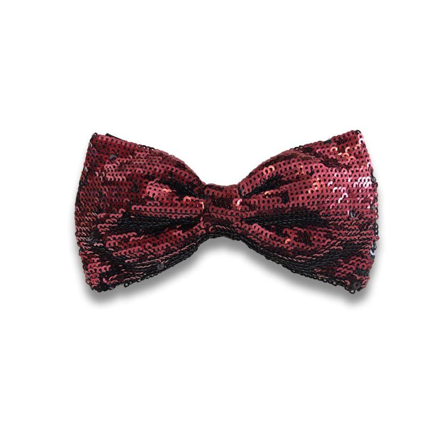 Black silk bow tie with bordeaux sequins