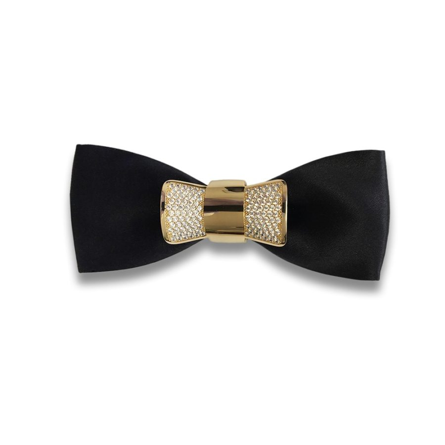 Solid black silk bow tie with golden jewel butterfly with crystals