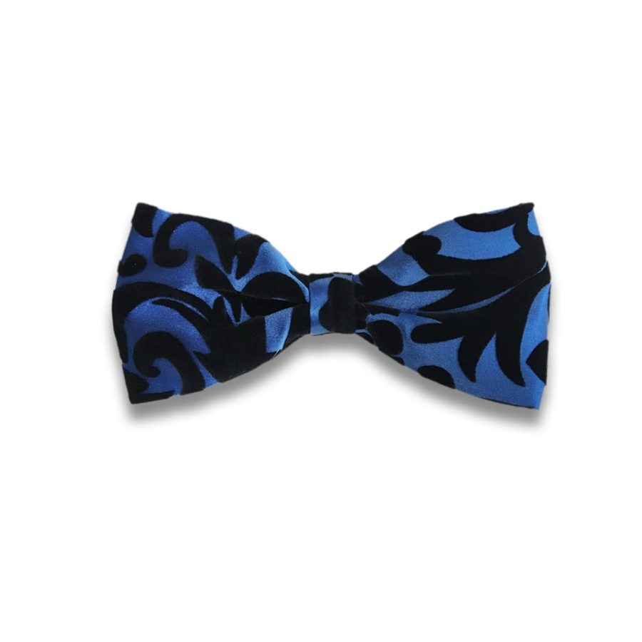 Black and blue silk and velvet bow tie