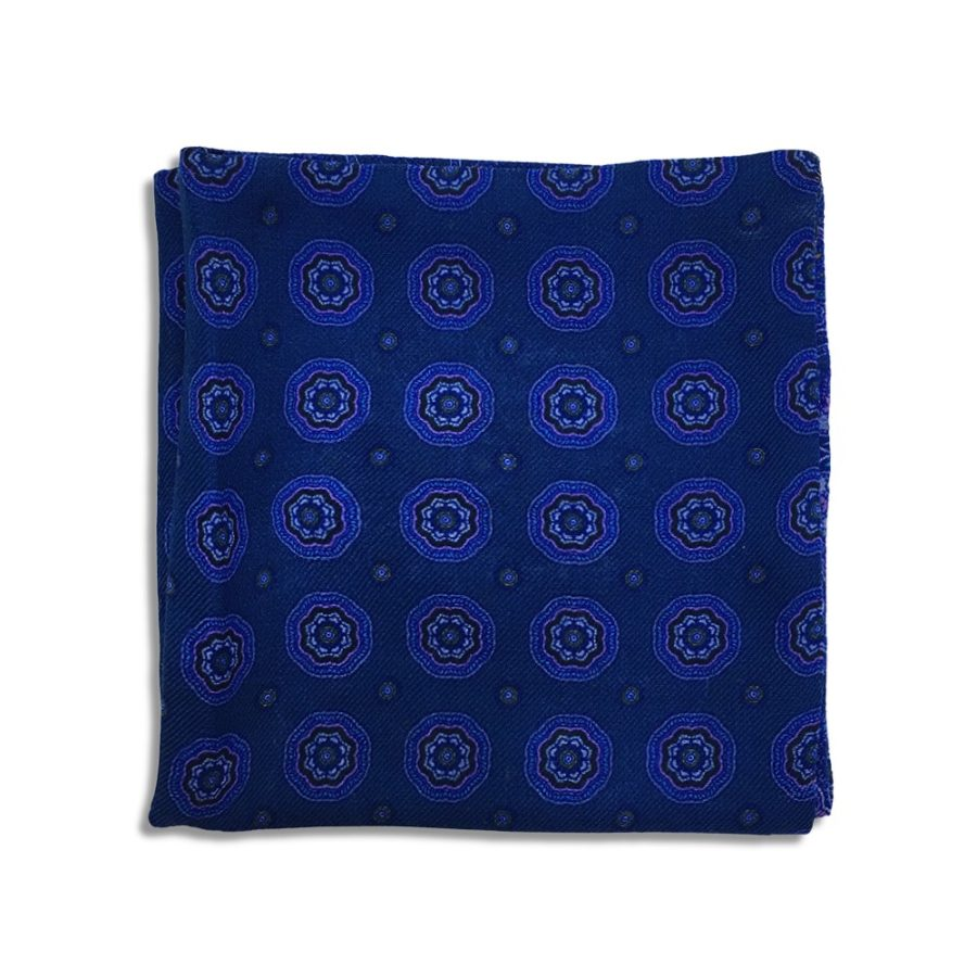 Blue cashmere pocket square