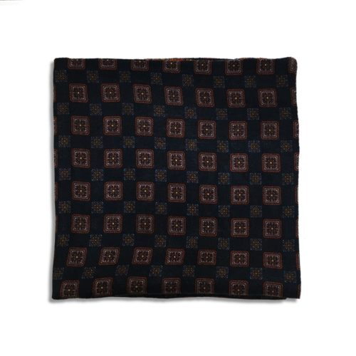 Bordeaux and blue cashmere pocket square