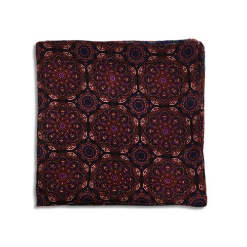 Bordeaux and black cashmere pocket square