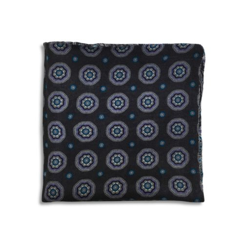 Grey and black cashmere pocket square