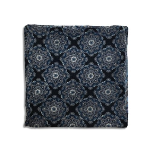Black and sky blue cashmere pocket square