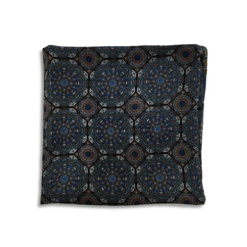 Black and green cashmere pocket square