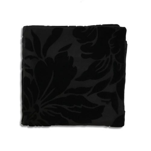Black silk and velvet pocket square