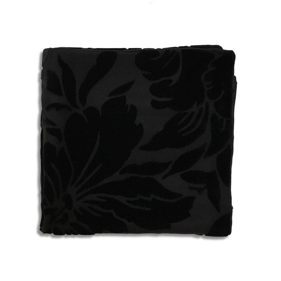 Black silk and velvet pocket square
