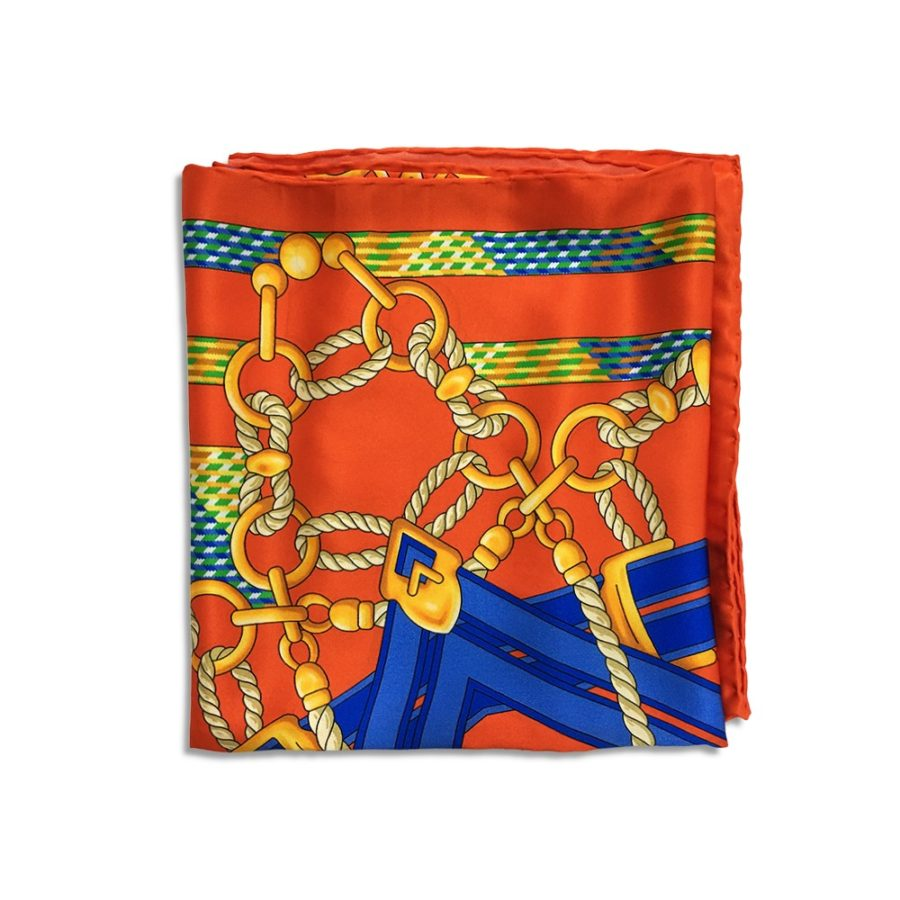 Orange, light blue, and yellow patterned silk headscarf with luxury box