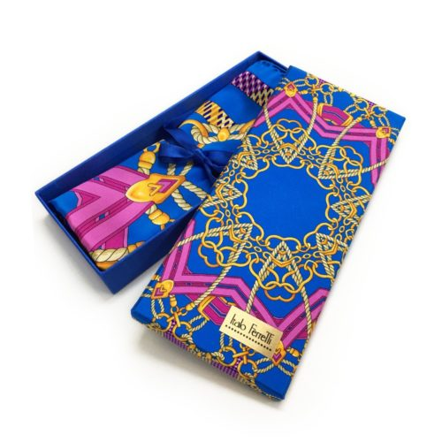 Light blue, violet and yellow patterned silk headscarf
