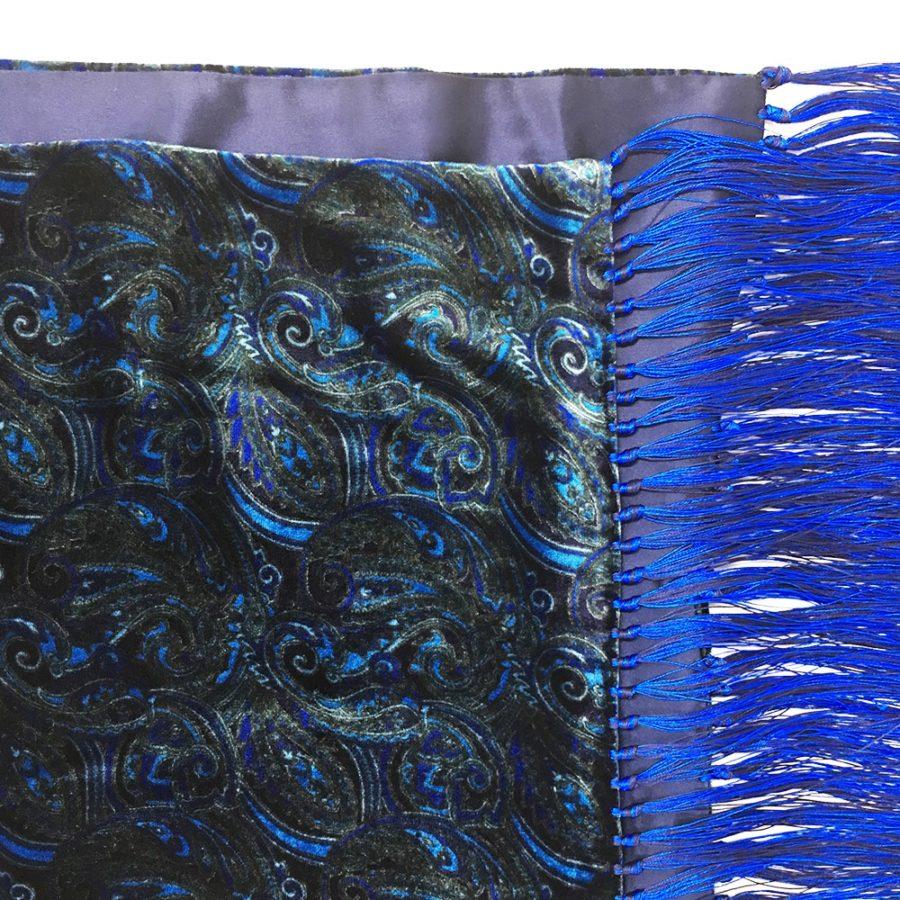 Double sided fringe scarf in dark blu silk and velvet