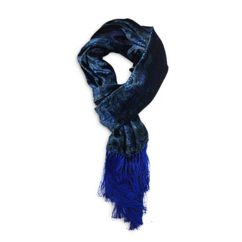 Double sided fringe scarf in dark blu silk and velvet