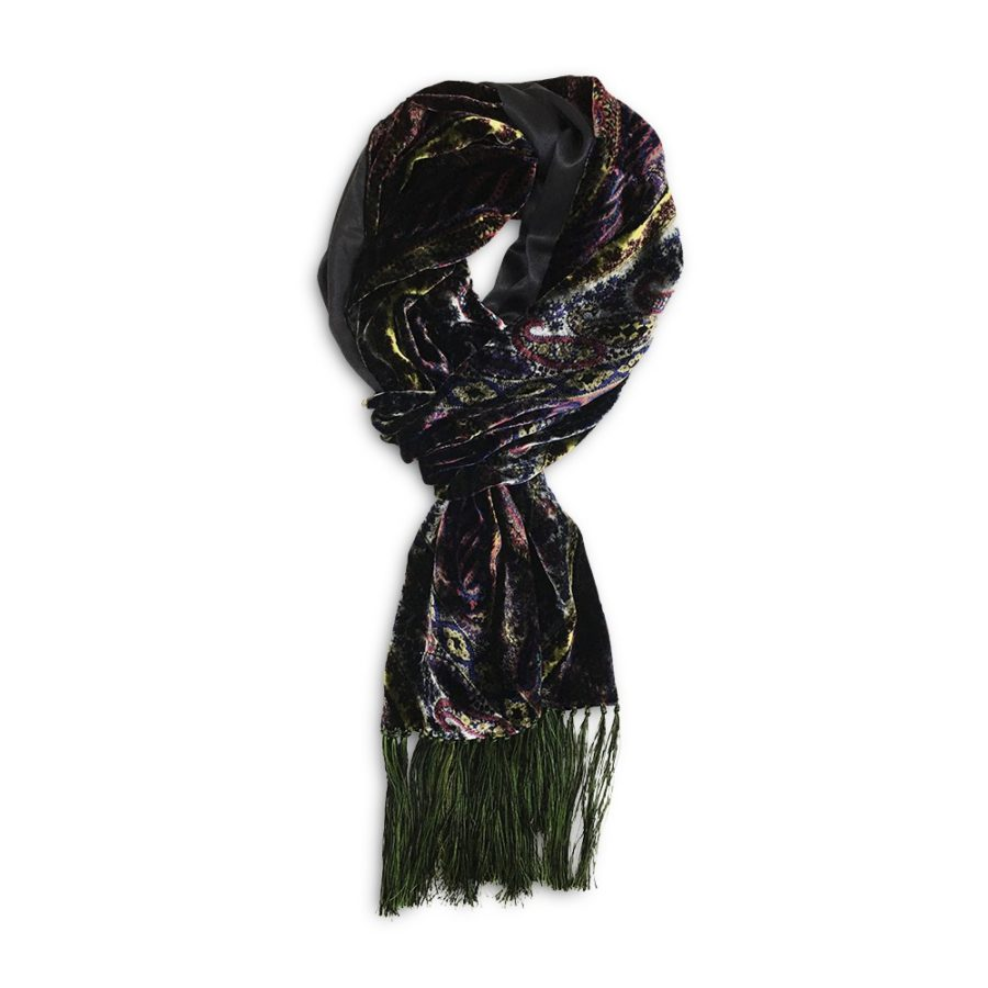 Double sided fringe scarf in dark black silk and velvet