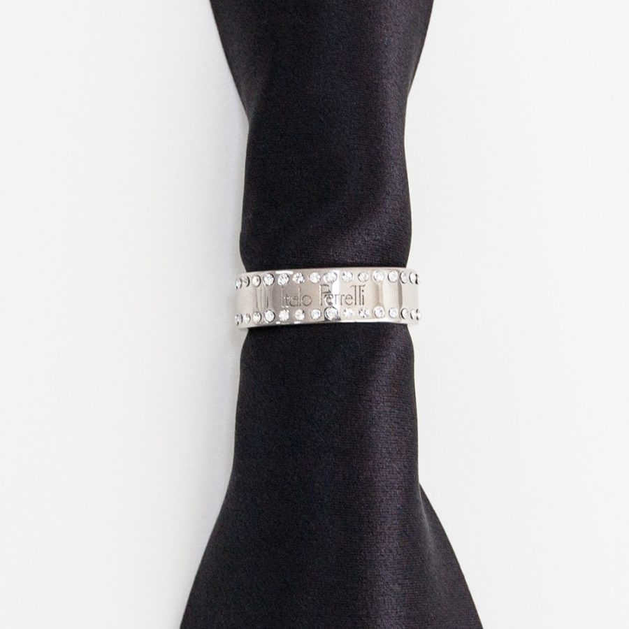 Black silk tie with jeweled ring