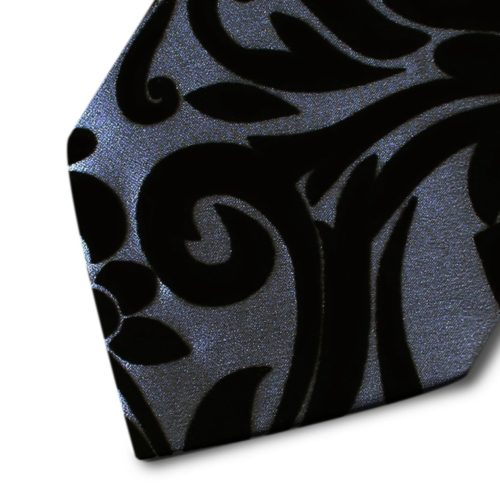 Grey silk tie with black velvet ramage