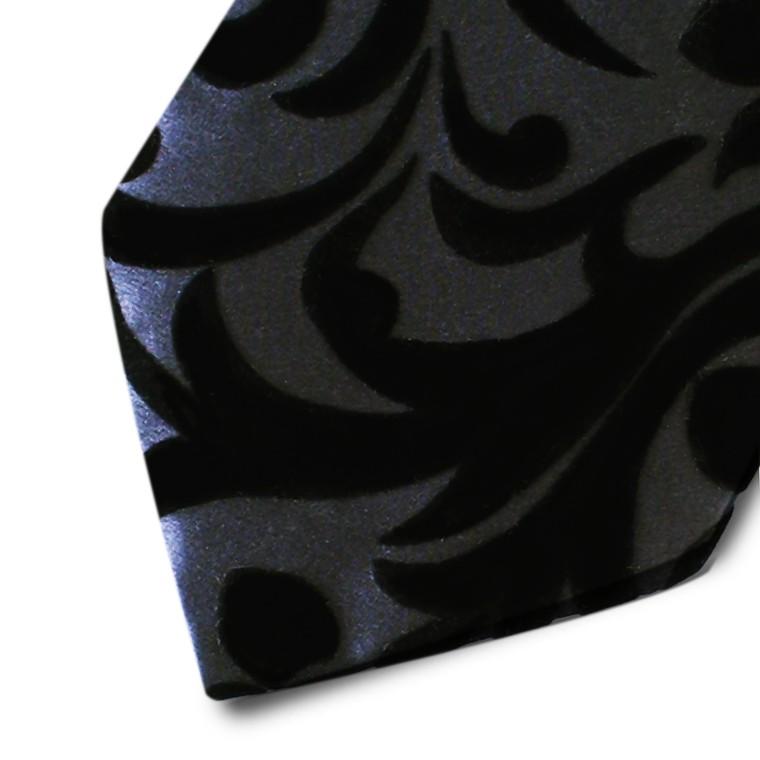Black silk tie with black velvet ramage